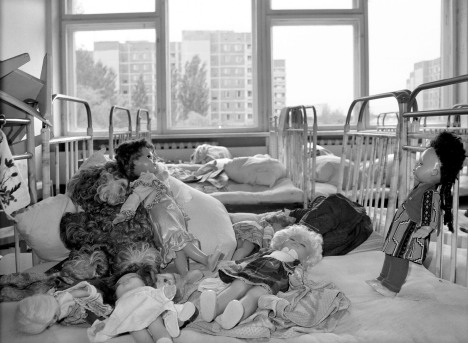 Three years after the Chernobyl accident, on Sept. 15, 1989, dolls are stacked on empty beds in a kindergarten of Pripyat after people were evacuated from the town 5 km from the Chernobyl nuclear power plant in Ukraine. On April 26, 1986, an accident at the Chernobyl nuclear power plant became one of the largest ecological catastrophes ever. Pripyat was a young town with many children--the average age of the population was 26 years old.